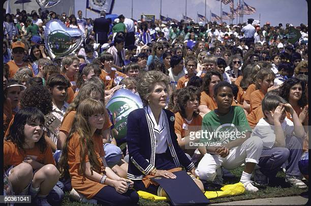 First Lady Nancy Reagan attending a Just Say No antidrug rally on the Mall