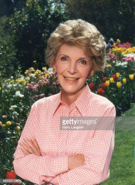 First Lady Nancy Reagan poses for a portrait in 1989 in Los Angeles California