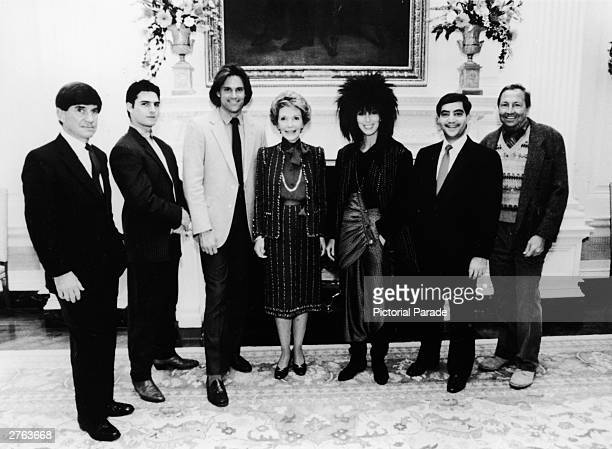 First Lady Nancy Reagan poses with celebrity recipients of the Outstanding Learning Disabled Achiever Award G Chris Anderson Tom Cruise Bruce Jenner...