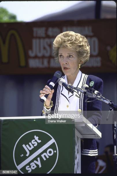 First Lady Nancy Reagan speaking at a Just Say No antidrug rally on the Mall