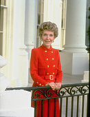 First Lady Nancy Reagan wearing trademark red dress