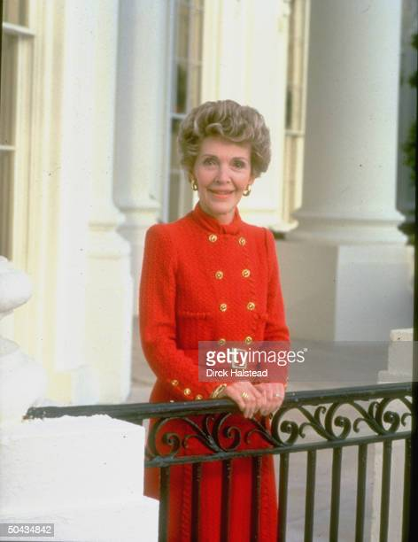 First Lady Nancy Reagan wearing trademark red dress