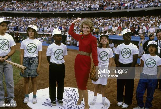 First Lady Nancy Regan throws out the first pitch before game one of the 1988 World Series between the Oakland Athletics and the Los Angeles Dodgers...