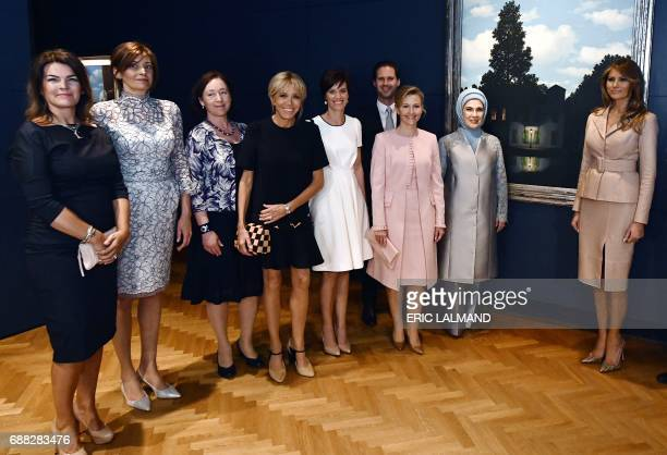 First Lady of Iceland Thora Margret Baldvinsdottir partner of Bulgaria's President Desislava Radeva wife of NATO head Ingrid Schulerud wife of...