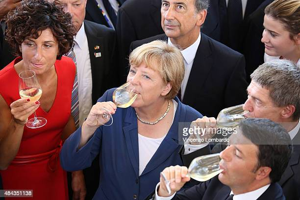 First Lady of Italy Agnese Landini German Chancellor Angela Merkel and her husband Joachim Sauer and Italian Prime Minister Matteo Renz sip their...