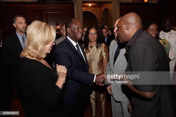 First Lady of Ivory Coast Dominique FollorouxOuattara and Ivory Coast President Alassane Ouattara greets Shaka Ssali at the 30th Annual Awards Gala...