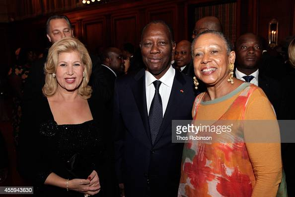 First Lady of Ivory Coast Dominique FollorouxOuattara Ivory Coast President Alassane Ouattara and Ambassador Alice Dear of AM Dear Associates attend...