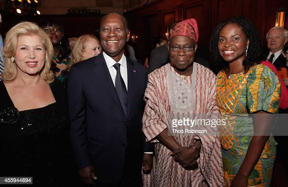 First Lady of Ivory Coast Dominique FollorouxOuattara Ivory Coast President Alassane Ouattara Oluṣẹgun Ọbasanjọ former President of Nigeria and AAI...