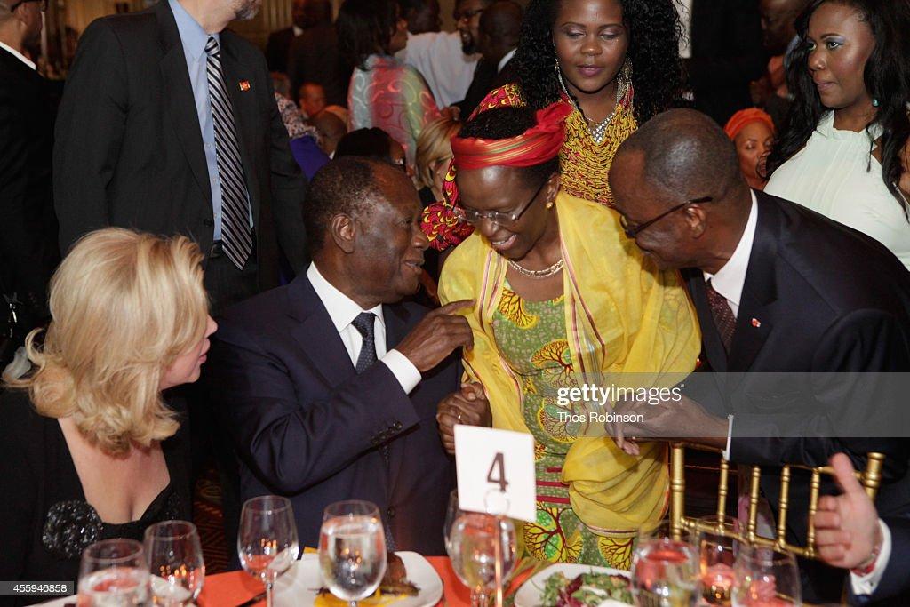First Lady of Ivory Coast Dominique FollorouxOuattara Ivory Coast President Alassane Ouattara and HE Ambassador Liberata Mulamula of Tanzania attends...