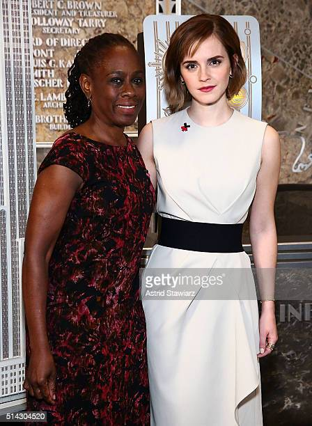 First Lady of New York City Chirlane McCray and actress Emma Watson light The Empire State Building In HeForShe Magenta For International Women's Day...