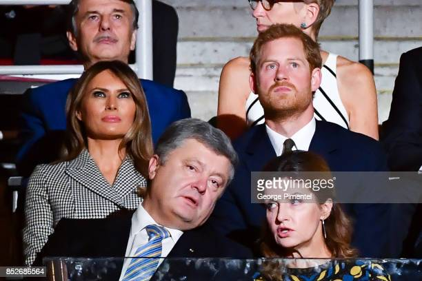 First lady of the United States Melania Trump and Prince Harry attend the opening ceremony of the 2017 Invictus Games at Air Canada Centre on...