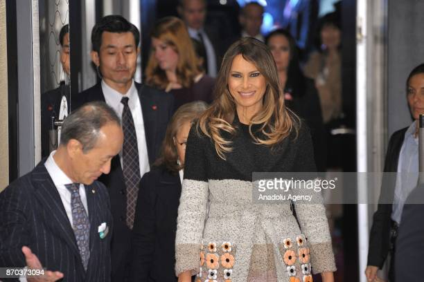First Lady of the United States Melania Trump is welcomed by Japanese Prime Minister Shinzo Abe's wife Mrs Akie Abe upon her arrival at Mikimoto...