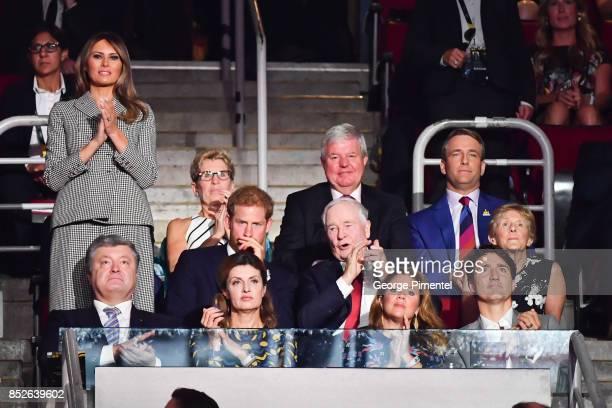 First Lady of the United States Melania Trump Prince Harry Ukrainian President Petro Poroshenko Maryna Poroshenko Sophie Gregoire Trudeau and...