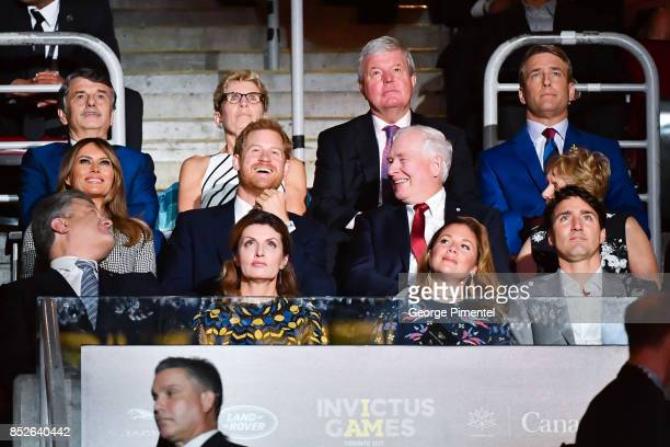 First Lady of the United States Melania Trump Prince Harry Sophie Gregoire Trudeau and Canadian Prime Minister Justin Trudeau attend the opening...