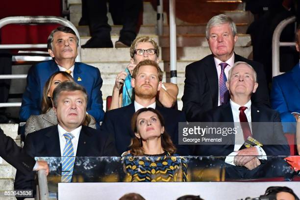 First Lady of the United States Melania Trump Prince Harry Ukrainian President Petro Poroshenko and his wife Maryna Poroshenko attend the opening...