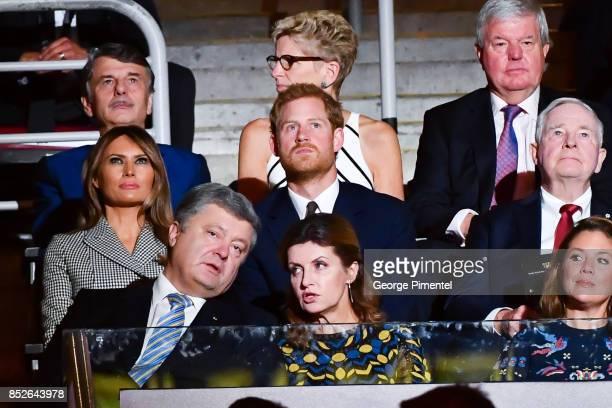 First Lady of the United States Melania Trump Prince Harry Ukrainian President Petro Poroshenko and his wife Maryna Poroshenko and Sophie Gregoire...