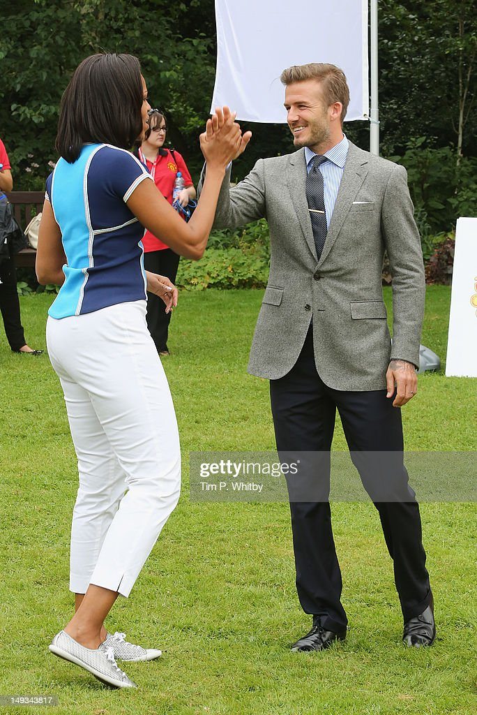 First Lady of the United States, Michelle Obama and David Beckham celebrate Nickelodeon joins Let's Move for 'Let's Move London' event at the American Ambassadors Residence, Winfield House, Regents Park on July 27, 2012 in London, England.