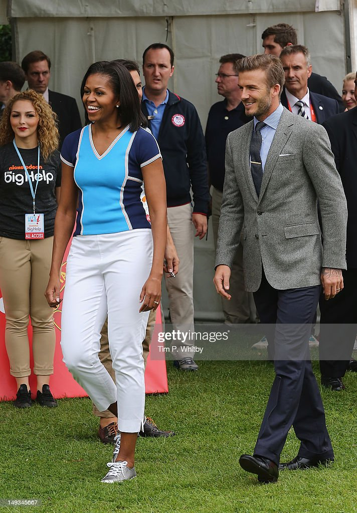First Lady of the United States, <a gi-track='captionPersonalityLinkClicked' href=/galleries/search?phrase=Michelle+Obama&family=editorial&specificpeople=2528864 ng-click='$event.stopPropagation()'>Michelle Obama</a> and <a gi-track='captionPersonalityLinkClicked' href=/galleries/search?phrase=David+Beckham&family=editorial&specificpeople=158480 ng-click='$event.stopPropagation()'>David Beckham</a> celebrate Nickelodeon joins Let's Move for 'Let's Move London' event at the American Ambassadors Residence, Winfield House, Regents Park on July 27, 2012 in London, England.