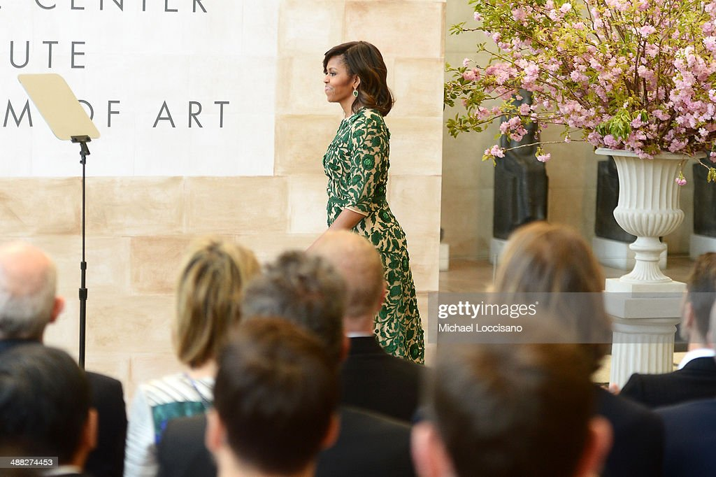 First Lady of the United States <a gi-track='captionPersonalityLinkClicked' href=/galleries/search?phrase=Michelle+Obama&family=editorial&specificpeople=2528864 ng-click='$event.stopPropagation()'>Michelle Obama</a> attends the Anna Wintour Costume Center Grand Opening at the Metropolitan Museum of Art on May 5, 2014 in New York City.