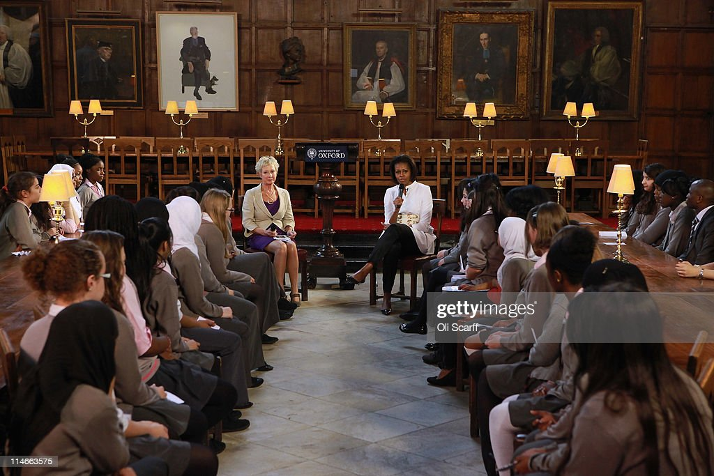 First Lady of the United States, Michelle Obama, delivers a speech and answers student's questions in Christ Church dining hall in the University of Oxford on May 25, 2011 in Oxford, England. Mrs Obama joined female students from the Elizabeth Garrett Anderson School in North London for an open day at the University of Oxford. The 44th President of the United States, Barack Obama, and his wife Michelle are in the UK for a two day State Visit at the invitation of HM Queen Elizabeth II. Last night they attended a state banquet at Buckingham Palace and today's events include talks at Downing Street and the President will address both houses of parliament at Westminster Hall.