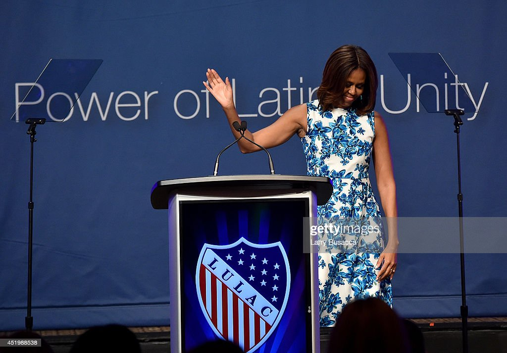 First Lady of the United States <a gi-track='captionPersonalityLinkClicked' href=/galleries/search?phrase=Michelle+Obama&family=editorial&specificpeople=2528864 ng-click='$event.stopPropagation()'>Michelle Obama</a> onstage at the LULAC/NUVOtv Unity Luncheon With Jennifer Lopez at New York Hilton Midtown on July 10, 2014 in New York City.