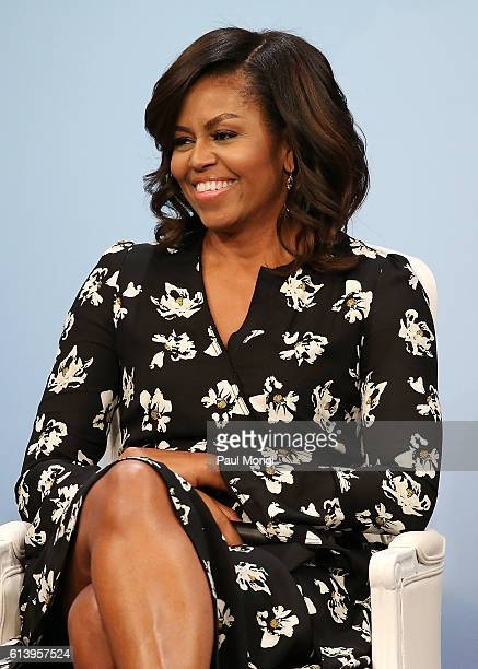 First Lady of the United States Michelle Obama participates in a panel discussion at Glamour Hosts 'A Brighter Future A Global Conversation on Girls'...