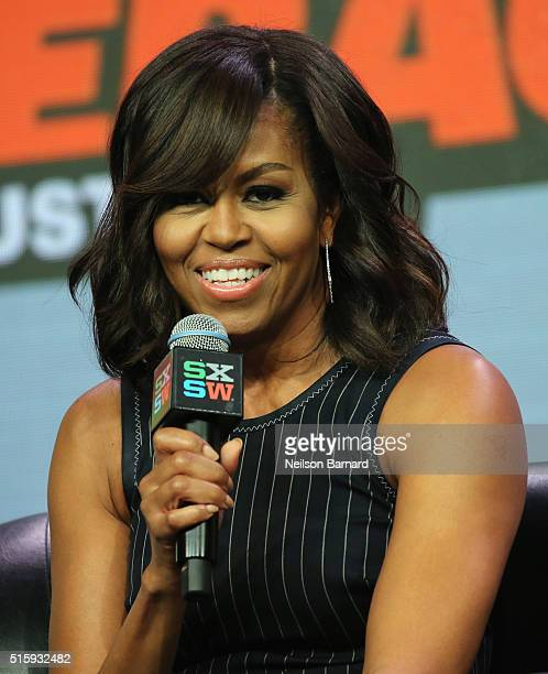 First Lady of the United States Michelle Obama speaks onstage at SXSW Keynote Michelle Obama during the 2016 SXSW Music Film Interactive Festival at...
