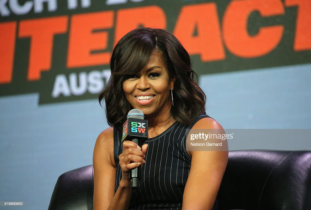 First Lady of the United States <a gi-track='captionPersonalityLinkClicked' href=/galleries/search?phrase=Michelle+Obama&family=editorial&specificpeople=2528864 ng-click='$event.stopPropagation()'>Michelle Obama</a> speaks onstage at SXSW Keynote: <a gi-track='captionPersonalityLinkClicked' href=/galleries/search?phrase=Michelle+Obama&family=editorial&specificpeople=2528864 ng-click='$event.stopPropagation()'>Michelle Obama</a> during the 2016 SXSW Music, Film + Interactive Festival at Austin Convention Center on March 16, 2016 in Austin, Texas.