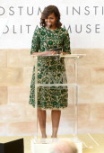 First Lady of the United States Michelle Obama speaks onstage at the Anna Wintour Costume Center Grand Opening at the Metropolitan Museum of Art on...
