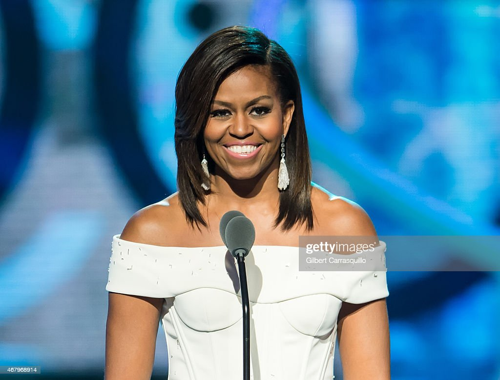 First Lady of the United States <a gi-track='captionPersonalityLinkClicked' href=/galleries/search?phrase=Michelle+Obama&family=editorial&specificpeople=2528864 ng-click='$event.stopPropagation()'>Michelle Obama</a> speaks onstage during the 'Black Girls Rock!' BET Special at NJ Performing Arts Center on March 28, 2015 in Newark, New Jersey.