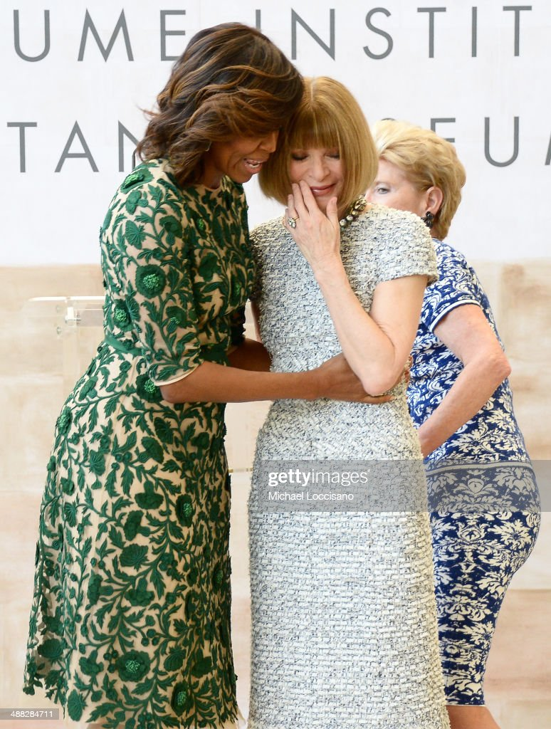 First Lady of the United States Michelle Obama, Vogue Editor in Chief Anna Wintour and Metropolitan Museum of Art President Emily K. Rafferty attend the Anna Wintour Costume Center Grand Opening at the Metropolitan Museum of Art on May 5, 2014 in New York City.