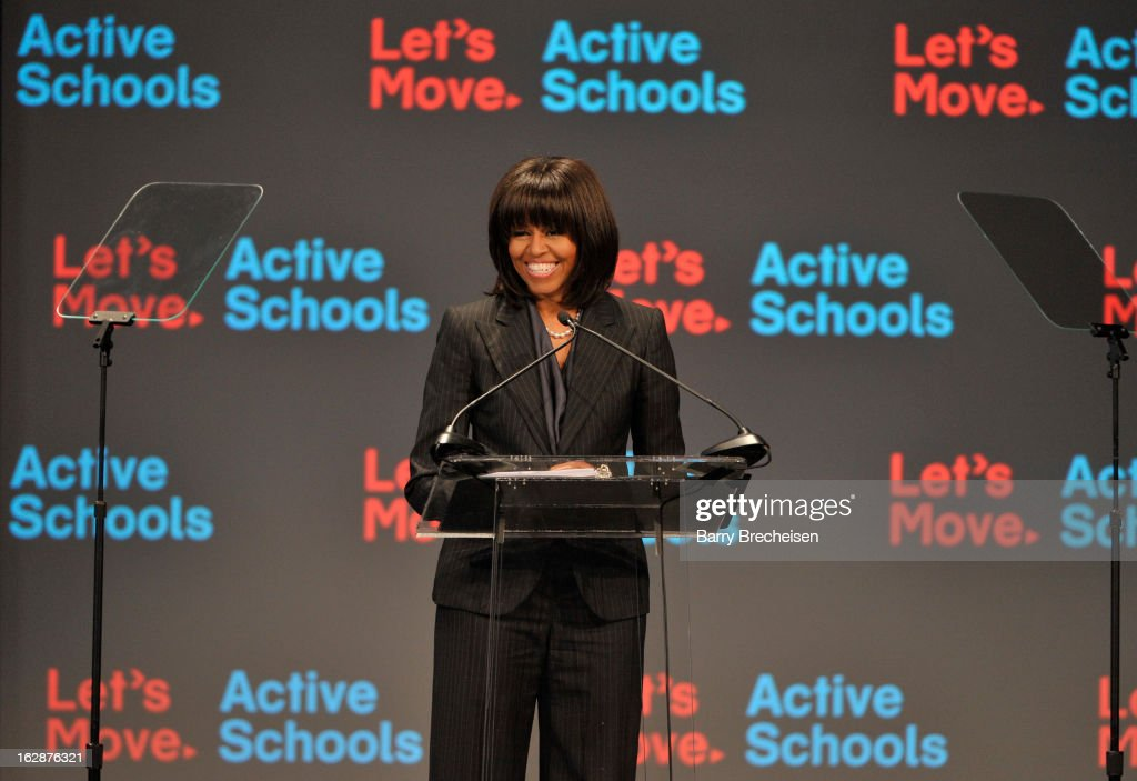 First Lady of the United States of America <a gi-track='captionPersonalityLinkClicked' href=/galleries/search?phrase=Michelle+Obama&family=editorial&specificpeople=2528864 ng-click='$event.stopPropagation()'>Michelle Obama</a> attends the unveiling of a new initiative called 'Let's Move Active Schools' to help schools create a physical activity programs for students at McCormick Place on February 28, 2013 in Chicago, Illinois.