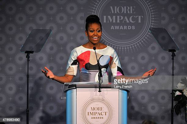 First Lady of the Unites States Michelle Obama speaks at the 2015 MORE Impact Awards Luncheon at The Newseum on June 29 2015 in Washington DC