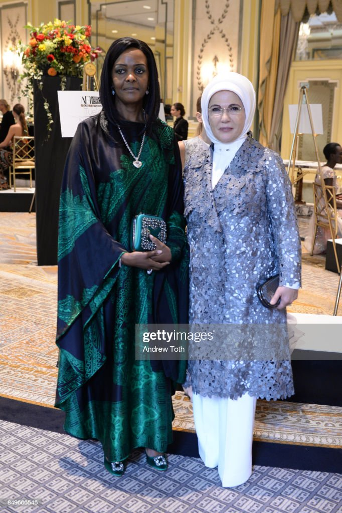 First Lady of Zimbabwe Grace Mugabe and First Lady of Turkey Emine Erdogan attend Fashion 4 Development's 7th Annual First Ladies Luncheon at The Pierre Hotel on September 19, 2017 in New York City.