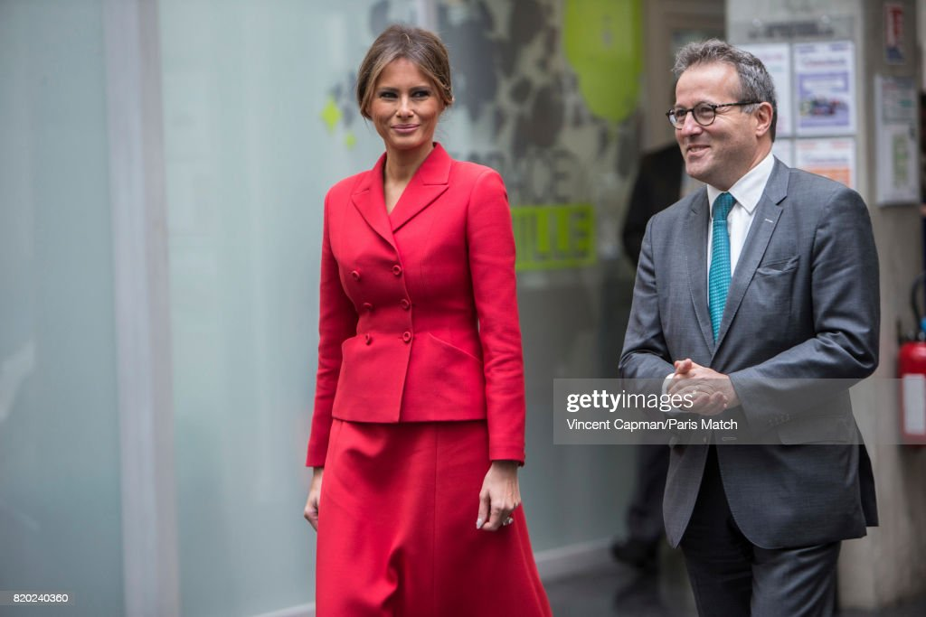 First lady to the US President Donald Trump, Melanie Trump and Martin Hirsch visit Necker Hospital. Photographed for Paris Match on July 13, 2017 in Paris, France.