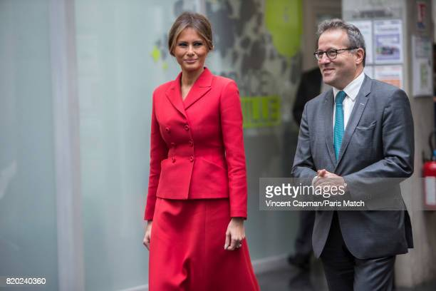 First lady to the US President Donald Trump Melanie Trump and Martin Hirsch visit Necker Hospital Photographed for Paris Match on July 13 2017 in...