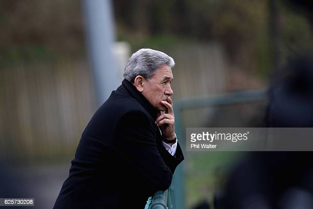 First leader Winston Peters attends the All Blacks captains run at the Suresnois Rugby Club on November 25 2016 in Paris France
