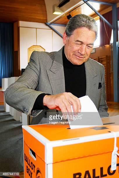 First leader Winston Peters casts his vote at St Mary's College on September 20 2014 in Auckland New Zealand Voters head to the polls today to elect...