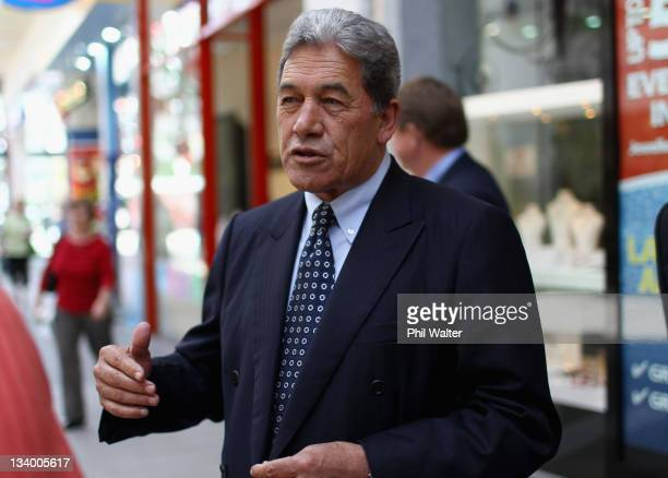 First leader Winston Peters meets shoppers at Sylvia Park Mall on November 24 2011 in Auckland New Zealand New Zealanders will head to the polls this...