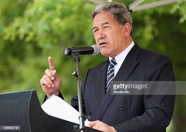 First leader Winston Peters speaks at a rally in Aotea Square on November 23 2011 in Auckland New Zealand New Zealanders will head to the polls this...