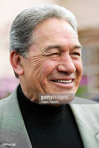 First leader Winston Peters speaks to media after casting his vote at St Mary's College on September 20 2014 in Auckland New Zealand Voters head to...
