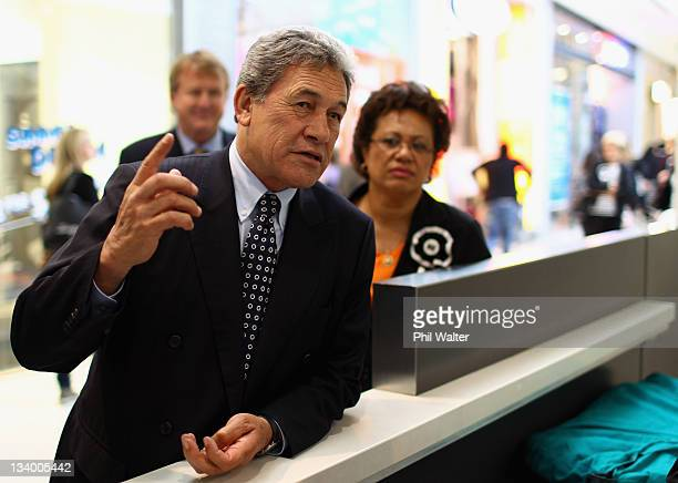 First leader Winston Peters talks with shoppers at Sylvia Park Mall on November 24 2011 in Auckland New Zealand New Zealanders will head to the polls...