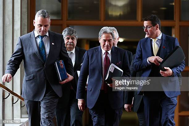 First leader Winston Peters walks to the House during the 2015 budget presentation at Parliament House on May 21 2015 in Wellington New Zealand...