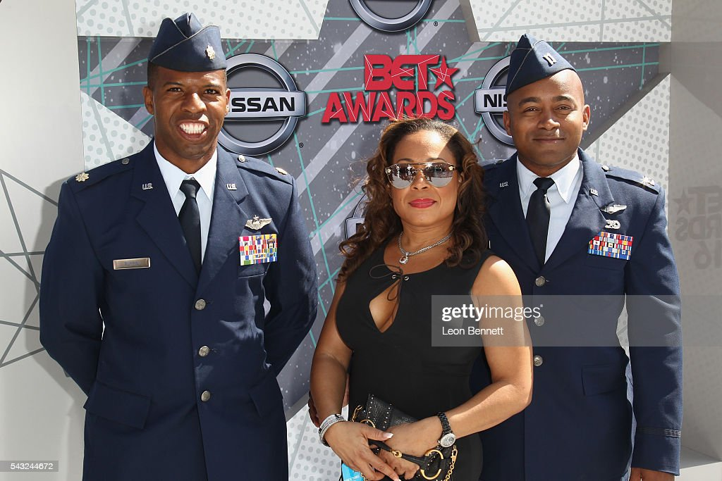 First Lieutenant Kenyatta H. Ruffin, Golden Eagle Aviation VP Melody Winston, and Legacy Flight Academy Director Captain <a gi-track='captionPersonalityLinkClicked' href=/galleries/search?phrase=Kenny+Thomas&family=editorial&specificpeople=201905 ng-click='$event.stopPropagation()'>Kenny Thomas</a> attend the Make A Wish VIP Experience at the 2016 BET Awards on June 26, 2016 in Los Angeles, California.