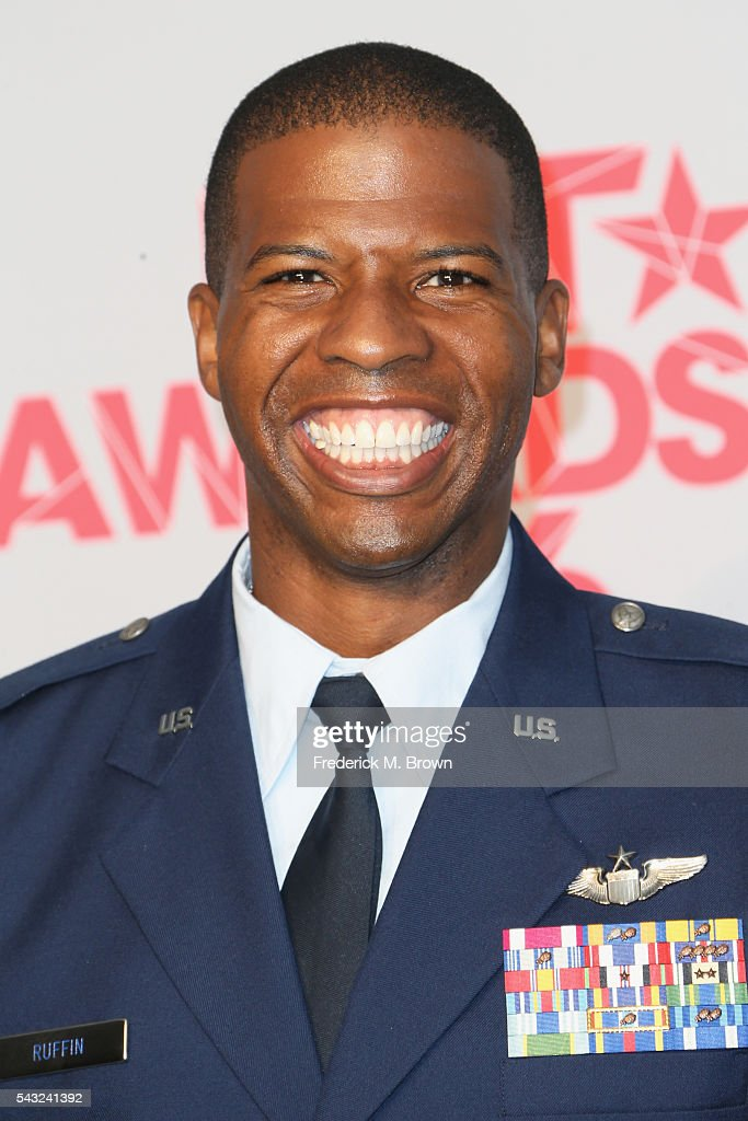First Lieutenant Kenyatta H. Ruffin, recipient of the Shine A Light Award, poses in the press room during the 2016 BET Awards at the Microsoft Theater on June 26, 2016 in Los Angeles, California.