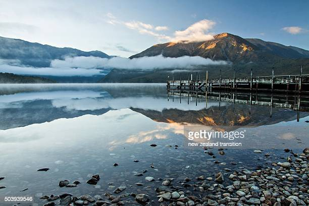 first light on Mt Robert at Lake Rotoiti jetty, Nelson Lakes National Park, New Zealand