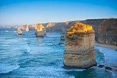 Dawn on the landmark Twelve Apostles along the Great Ocean Road in coastal southern Victoria, Australia.