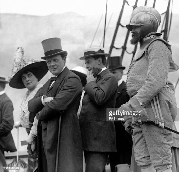 First Lord of the Admiralty Winston Churchill with his mother Mrs George CornwallisWest at an Earl's Court Exhibition commemorating the Armada