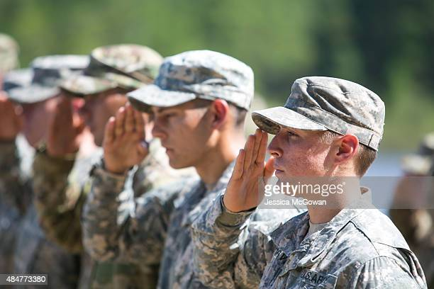 First Lt Shaye Haver salutes during the graduation ceremony of the United States Army's Ranger School on August 21 2015 at Fort Benning Georgia...