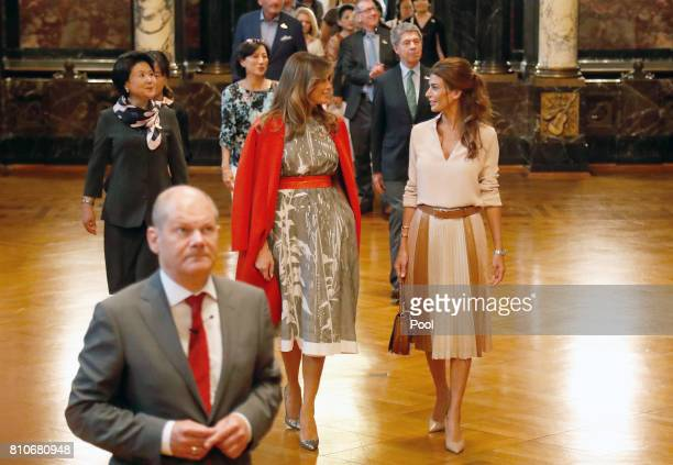First Mayor of Hamburg Olaf Scholz receives Kim Jungsook wife of President of the Republic of Korea Moon JaeIn Melania Trump wife of US President...